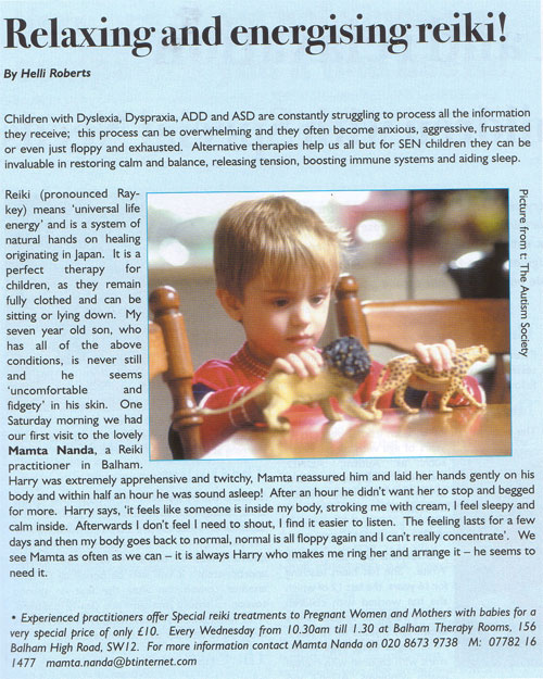 Family SouthWest article Reiki children with special needs March 2005